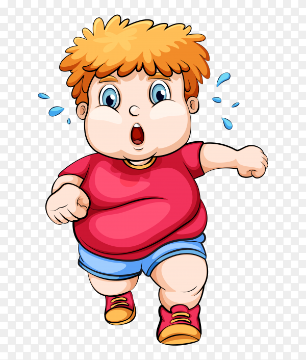 Fat boy Playing exercise on transparent background PNG