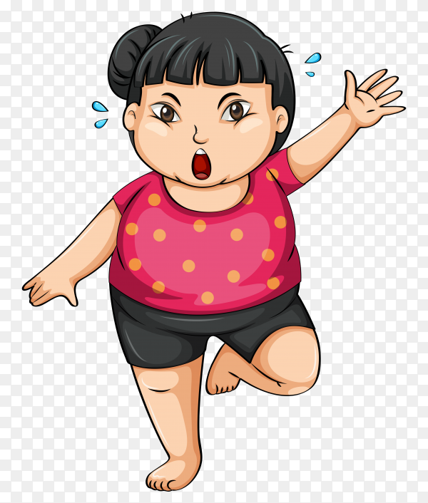 Fat girl Playing exercise on transparent background PNG
