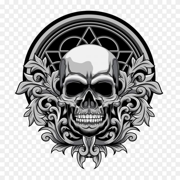 Floral skull design on transparent background PNG
