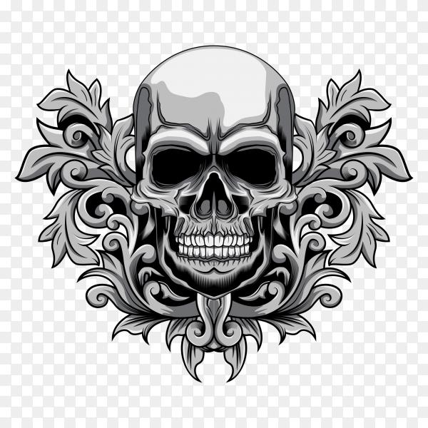 Floral skull illustration Premium vector PNG