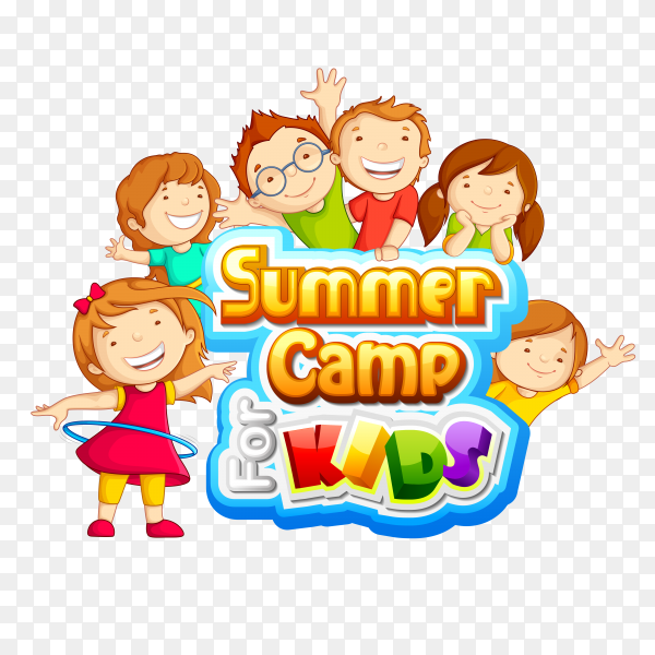 Font design for word Summer camp kids with children Premium vector PNG