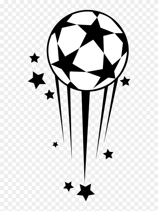 Football with stars on transparent background PNG
