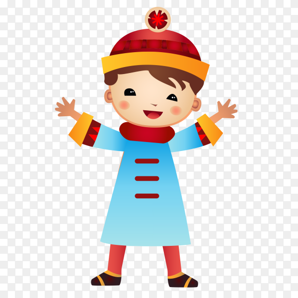 Funny boy cartoon on transparent background PNG