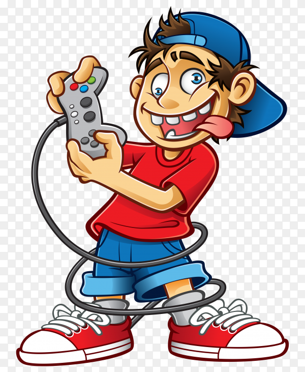 Funny boy playing game Premium vector PNG