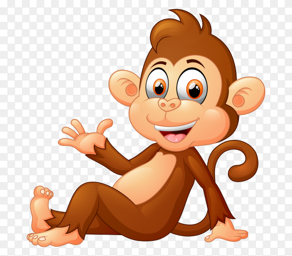 Funny monkey on transparent background PNG