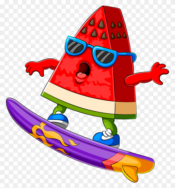 Funny watermelon cartoon on transparent background PNG
