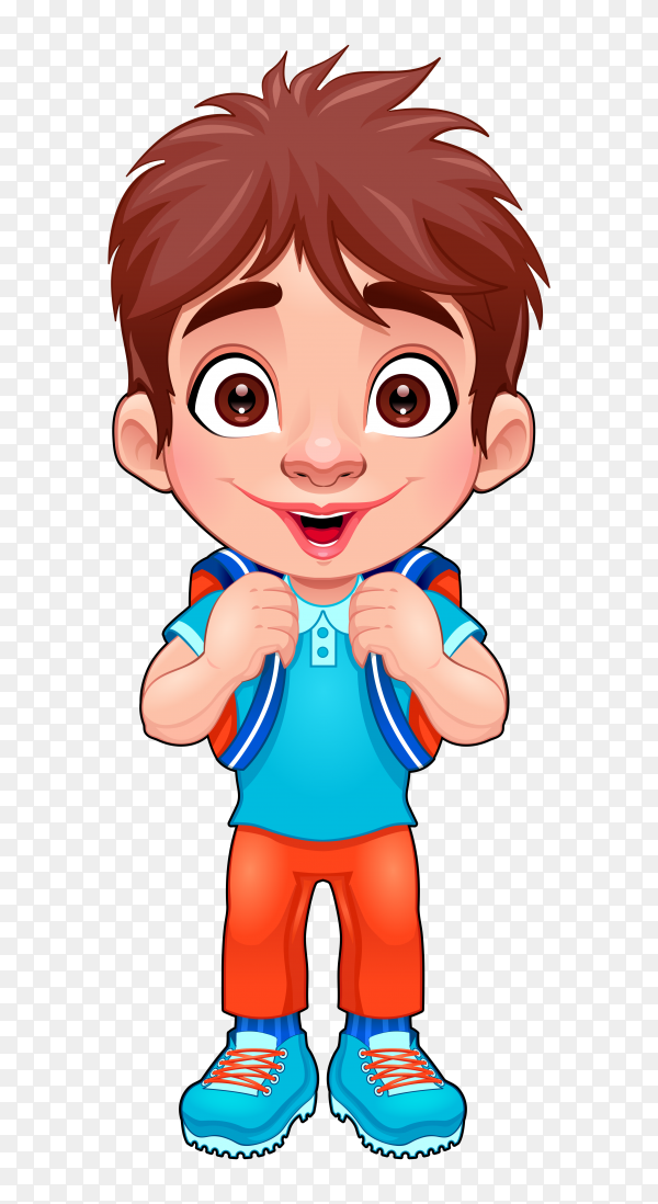 Funny young boy students on transparent background PNG