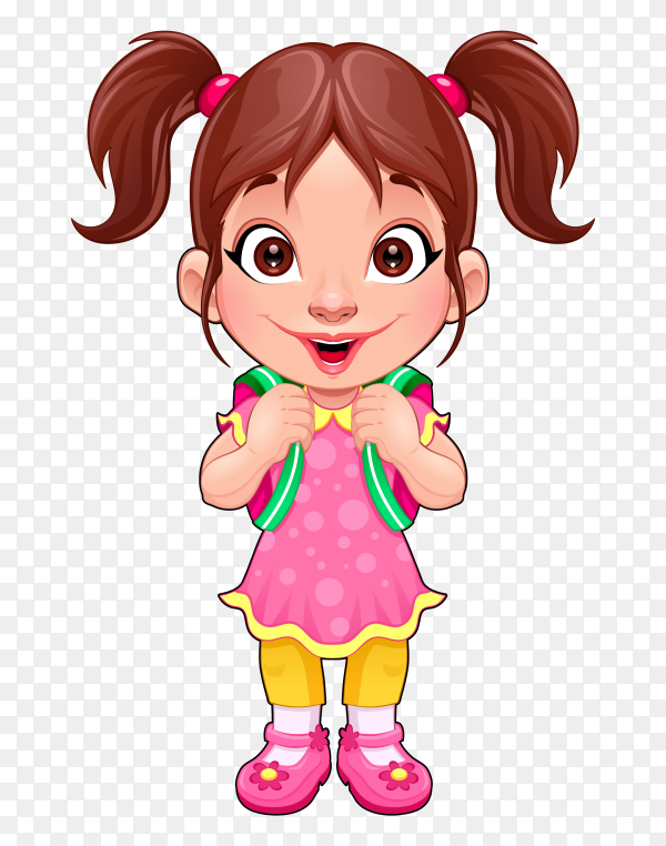 Funny young girl student on transparent background PNG