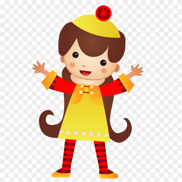 Fuuny Girl cartoon Premium vector PNG