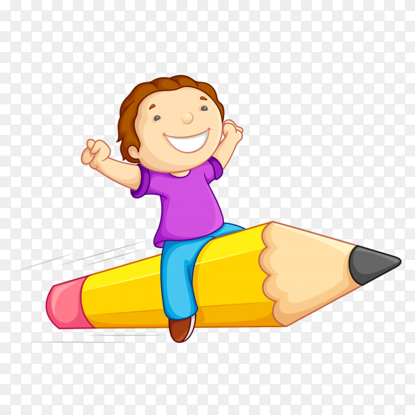 Fuuny boy with the pen on transparent background PNG