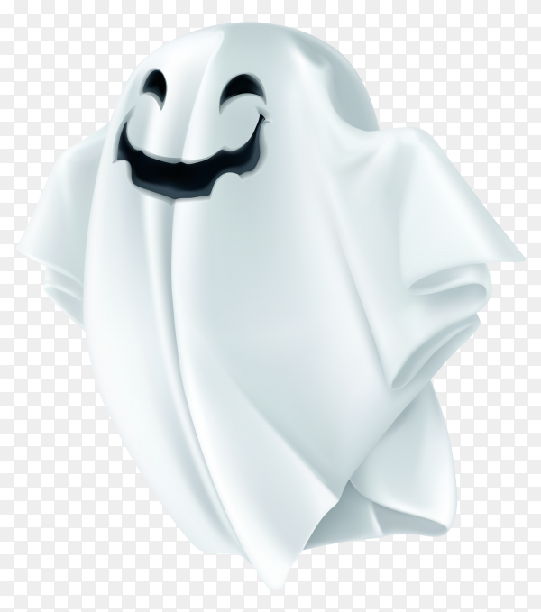Ghost with shadow transparency happy halloween character Clipart PNG