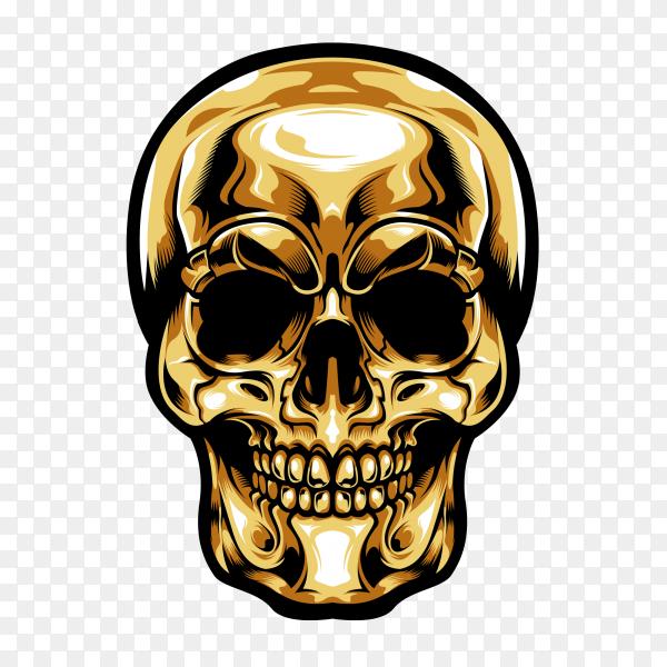 Gold head skull on transparent backround PNG