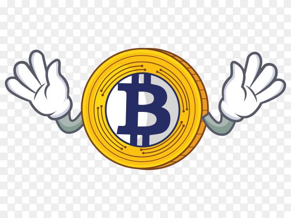 Golden Bitcoin character cartoon vector PNG