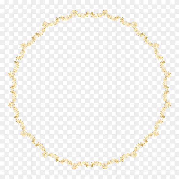 Golden calligraphic frame design on transparent background PNG