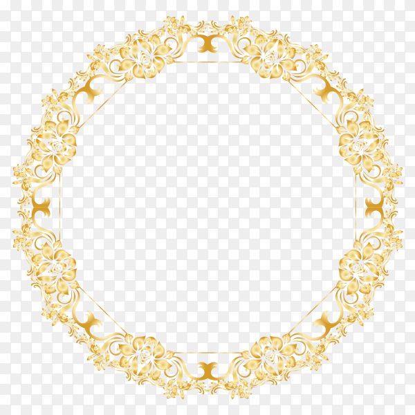 Golden floral circle frame premium vector PNG