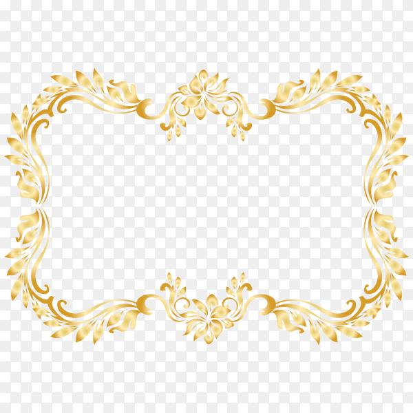 Golden frame design on transparent PNG