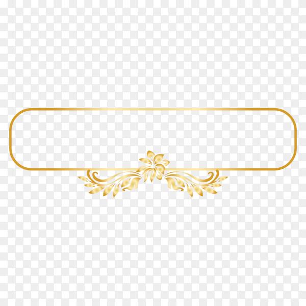 Golden ornamental frame on transparent PNG