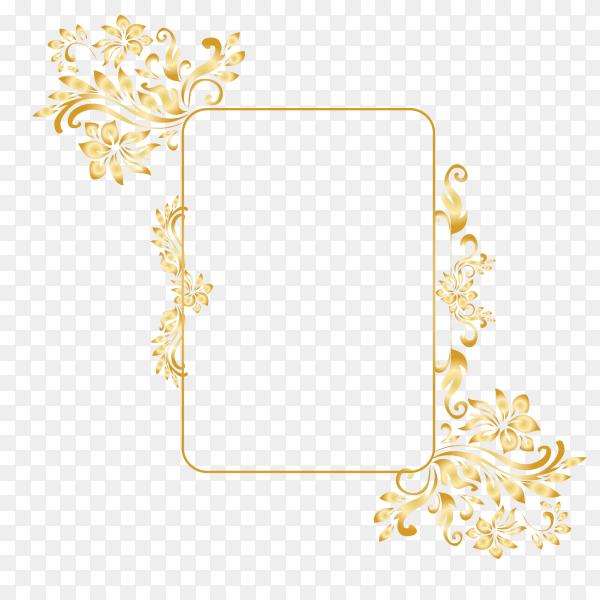 Golden ornamental frame on transparent background PNG