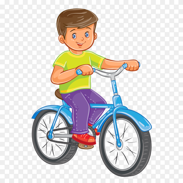 Good boy Riding A bike on transparent background PNG