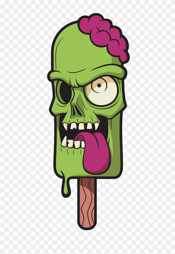 Green ice cream skull with creamy brain Clipart PNG