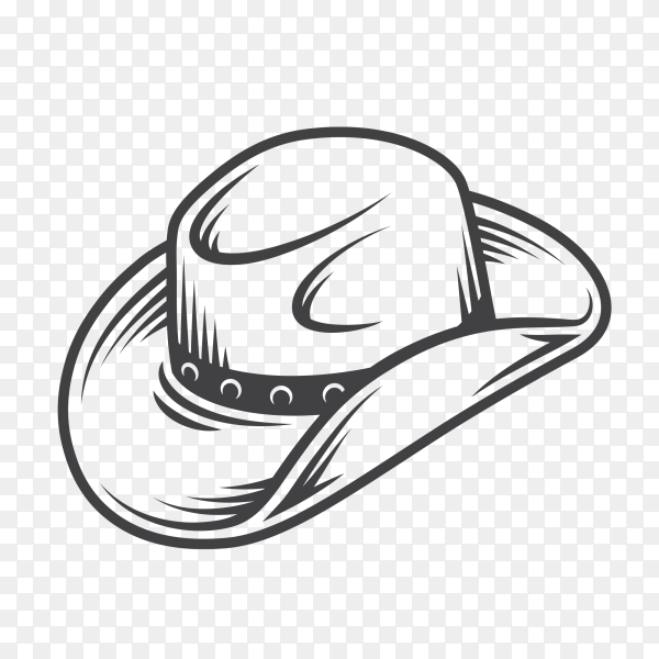 Hand drawing cowboy hat on transparent background PNG