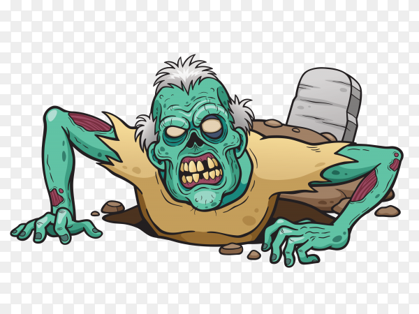 Hand drawn Cartoon Zombie on transparent background PNG
