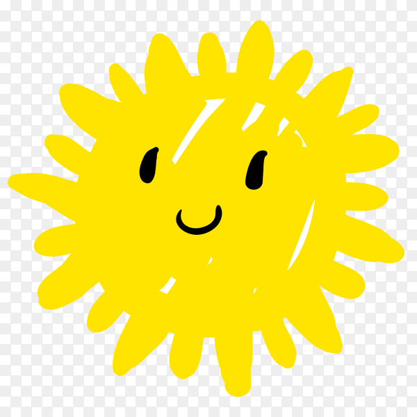 Hand drawn happy cartoon sun Premium vector PNG