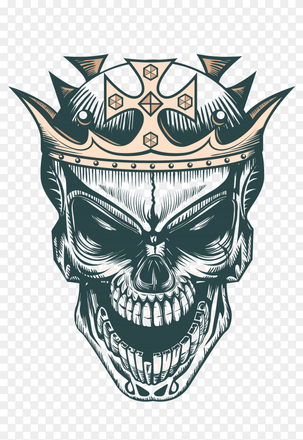 Hand drawn king skull Premium vector PNG