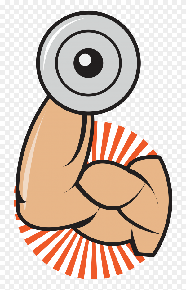 Hand holding dumbbell icon illustration Premium Vector PNG
