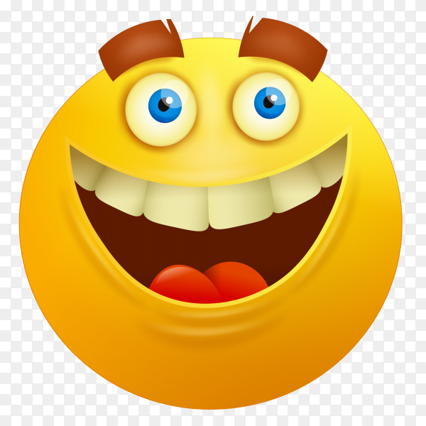 Happy cartoon emoji on transparent background PNG