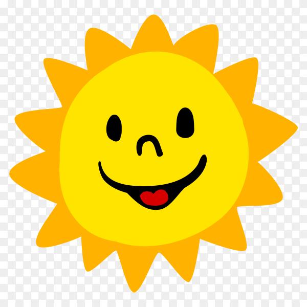 Happy cartoon sun premium vector PNG