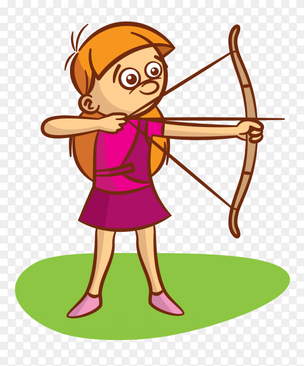 Happy character playing archery game Premium Vector PNG