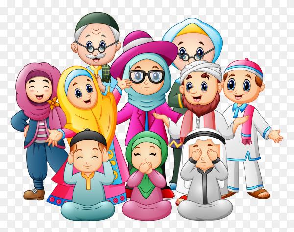 Happy family celebrate eid mubarak vector PNG