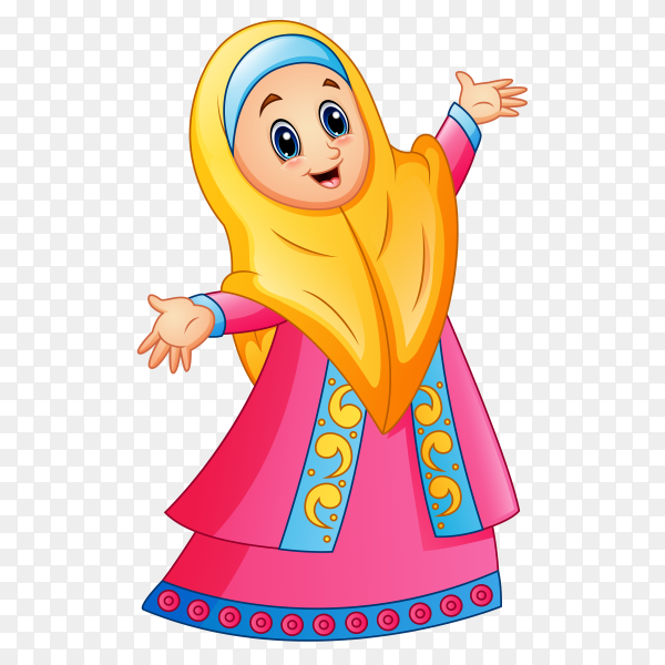 Happy muslim girl cartoon characte on transparent background PNG