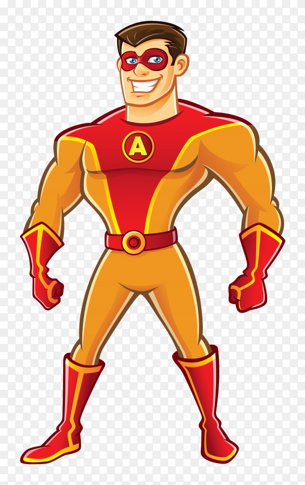 Happy super hero cartoon on transparent background PNG