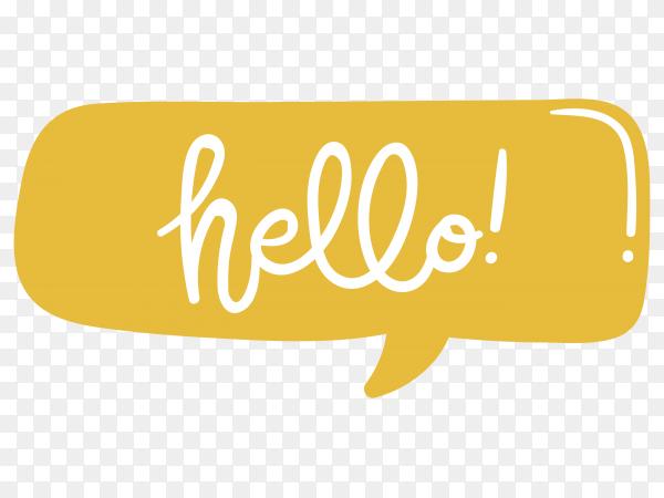 Hello Lettering design Premium vector PNG