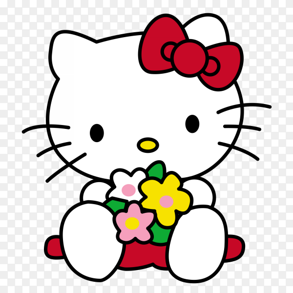 Hello kitty cartoon with flowers on transparent background PNG