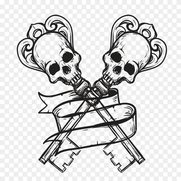 Horror skull design on transparent background PNG