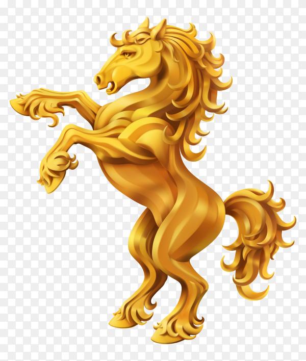 Horse golden heraldic on transparent background PNG