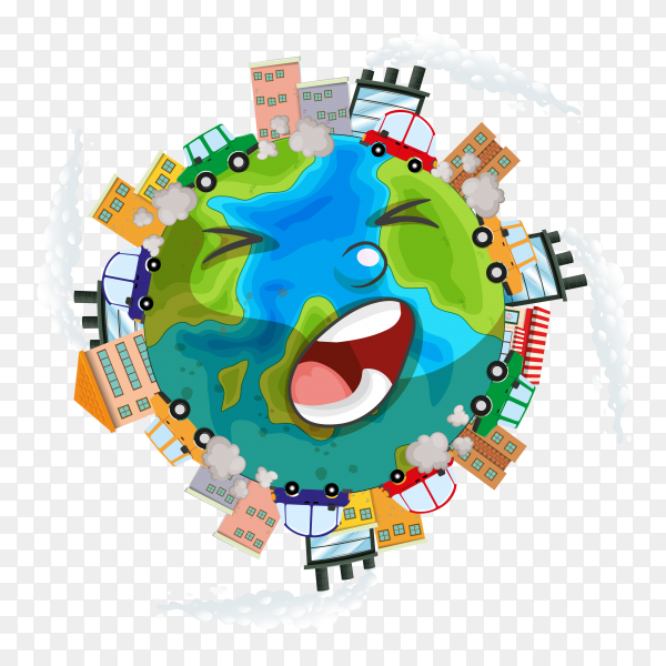 Illustration sick earth from pollution on transparent background PNG