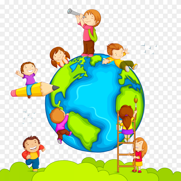 Illustraton children around the world on transparent background PNG