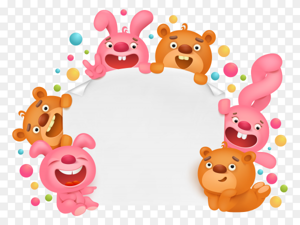 Invitation card template with funny cartoon toy animals Clipart PNG