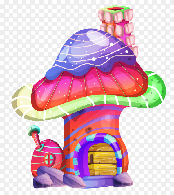Isolated fantasy mushroom house on transparent background PNG
