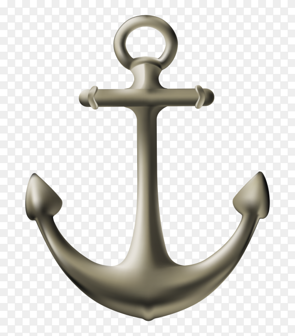 Isolated realistic anchor on transparent background PNG