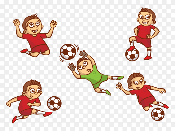 Kids Playing football Clipart PNG