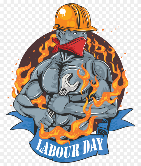 Labour day poster design on transparent background PNG