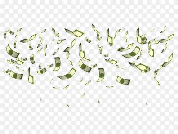 Lot of money flying illustration on transparent background PNG