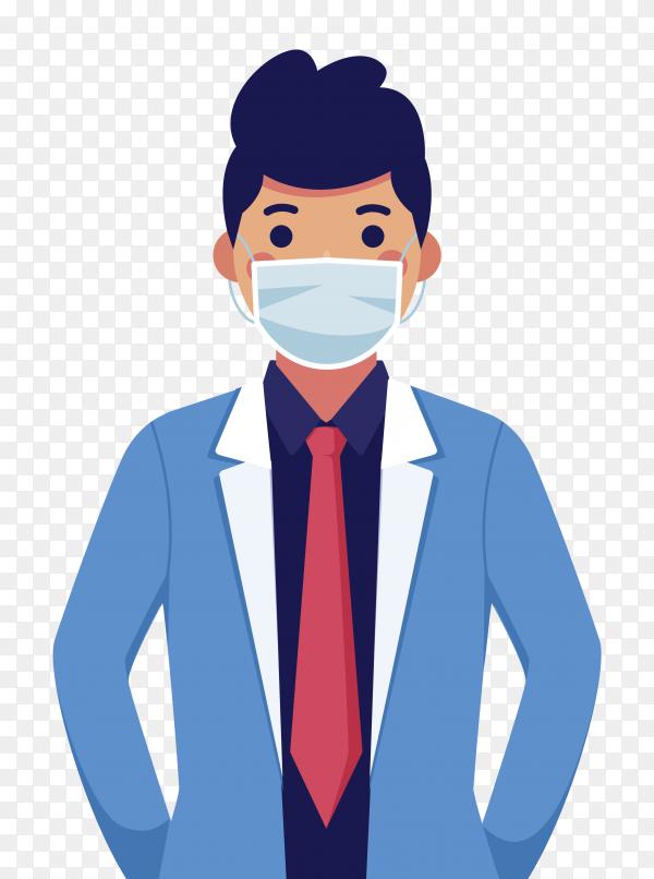 Man wear medical mask on transparent background PNG
