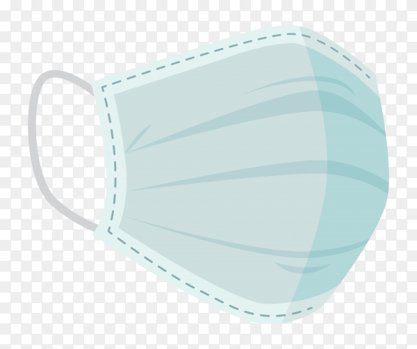 Medical face mask isolated on transparent background PNG