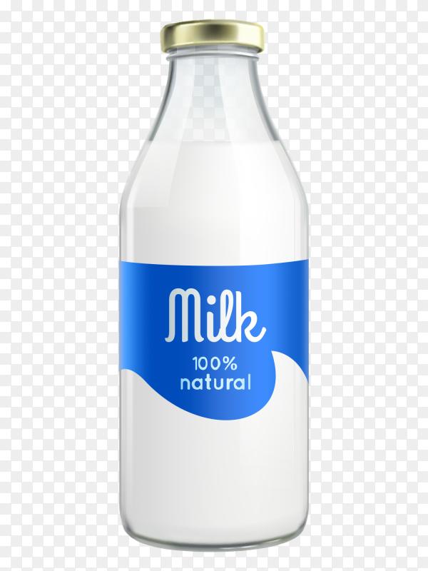 Milk bottle on transparent background PNG